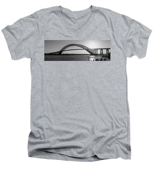 Bayonne Bridge Panorama Bw Men's V-Neck T-Shirt by Michael Ver Sprill