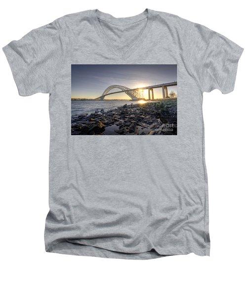 Bayonne Bridge Sunset Men's V-Neck T-Shirt by Michael Ver Sprill