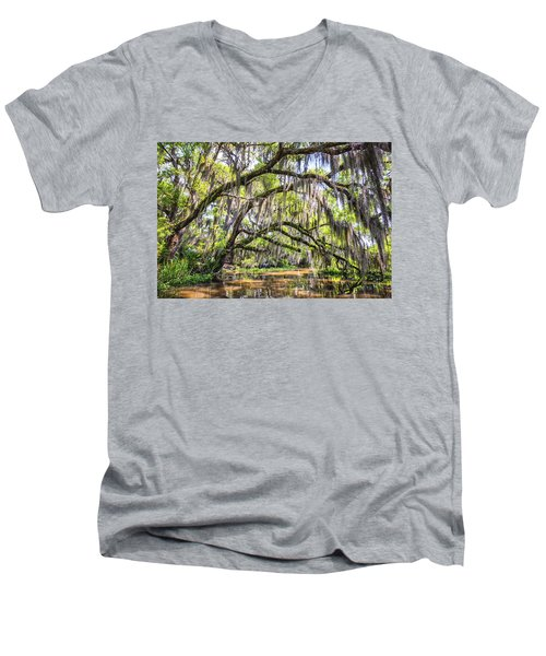 Bayou Cathedral Men's V-Neck T-Shirt by Andy Crawford