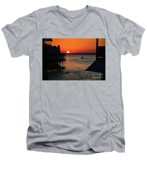 Bayou Vista Sunset Men's V-Neck T-Shirt