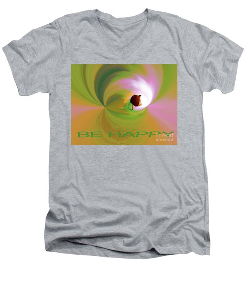 Be Happy, Green-pink With Physalis Men's V-Neck T-Shirt