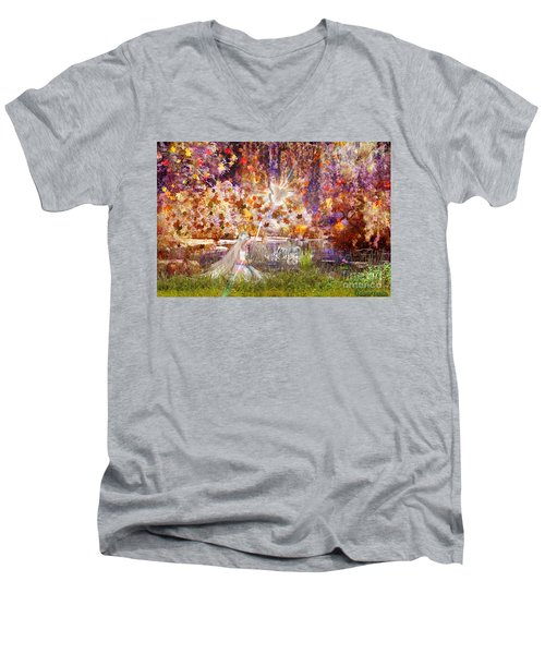 Men's V-Neck T-Shirt featuring the digital art Be Still And Know by Dolores Develde