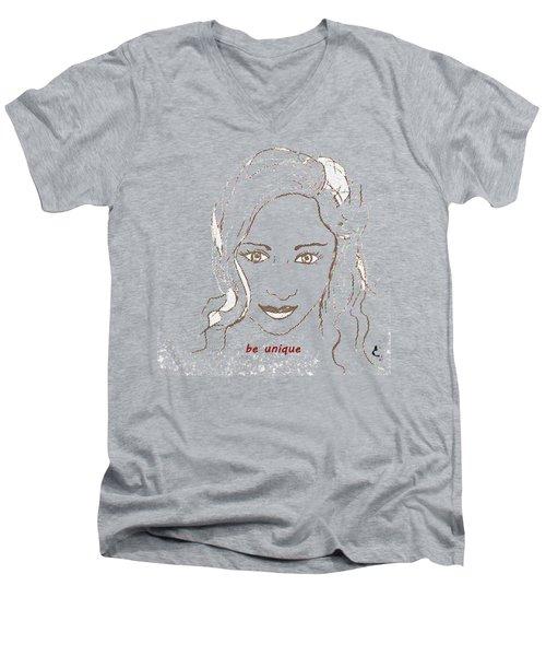 Be Unique Men's V-Neck T-Shirt by Vesna Martinjak