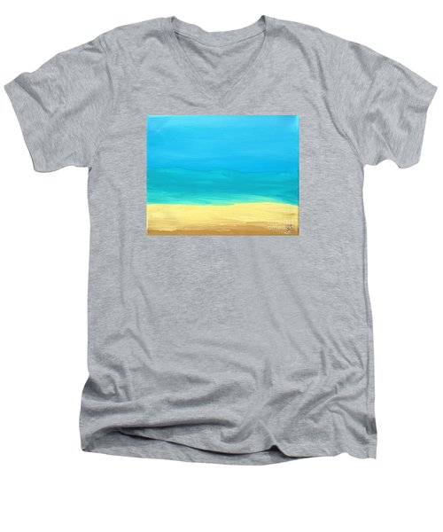 Beach Abstract Men's V-Neck T-Shirt by D Hackett