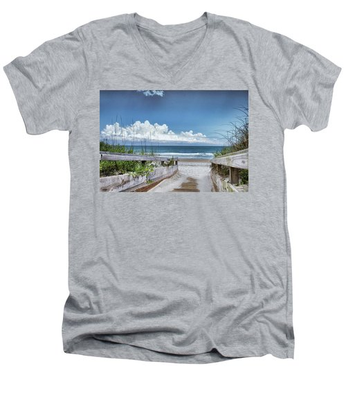 Beach Access Men's V-Neck T-Shirt by Phil Mancuso