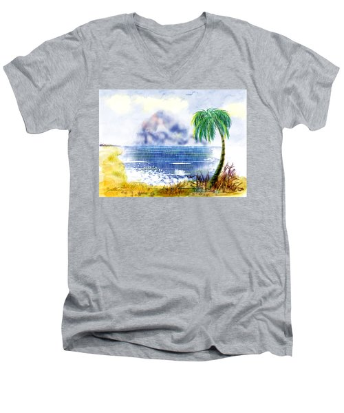 Beach And Palm Tree Of D.r.  Men's V-Neck T-Shirt