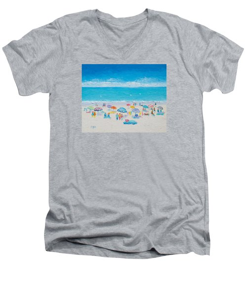 Beach Art - Fun In The Sun Men's V-Neck T-Shirt by Jan Matson