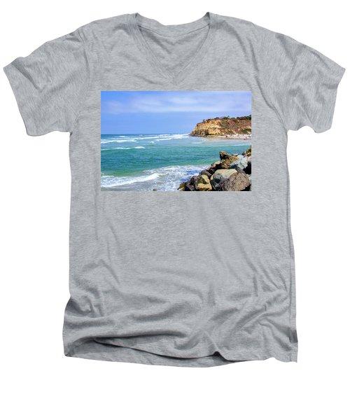 Beach At Del Mar, California Men's V-Neck T-Shirt