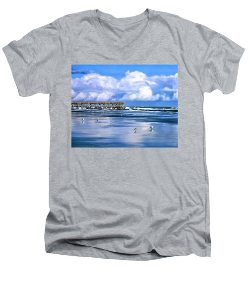 Beach At Isle Of Palms Men's V-Neck T-Shirt by Dominic Piperata