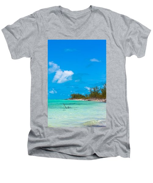 Beach At North Bimini Men's V-Neck T-Shirt