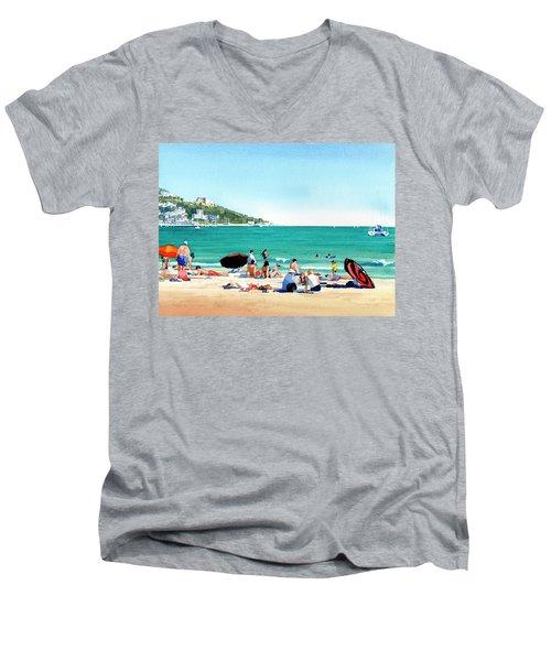 Beach At Roses, Spain Men's V-Neck T-Shirt