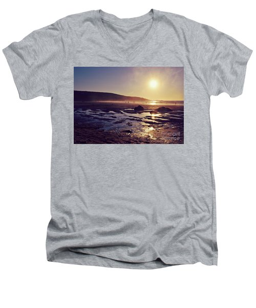 Men's V-Neck T-Shirt featuring the photograph Beach At Sunset by Lyn Randle