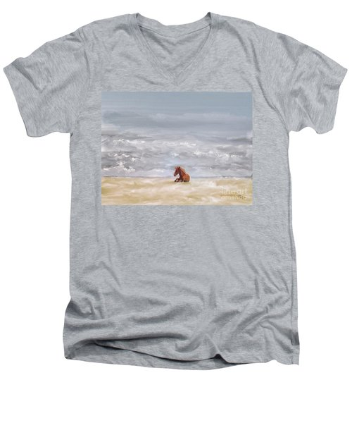 Men's V-Neck T-Shirt featuring the photograph Beach Baby by Lois Bryan