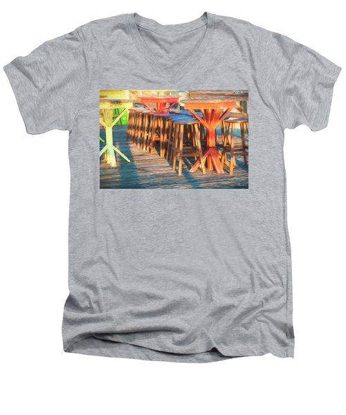 Beach Bar Morning Men's V-Neck T-Shirt by Glenn Gemmell
