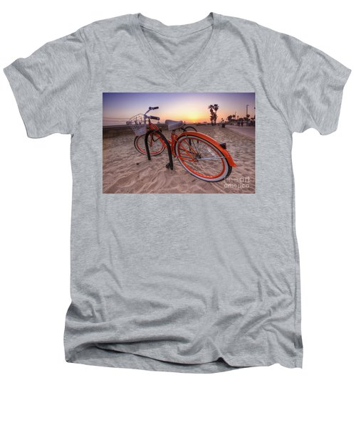 Beach Bike Men's V-Neck T-Shirt by Yhun Suarez
