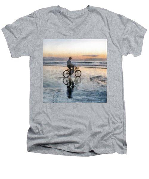 Beach Biker Men's V-Neck T-Shirt by Francesa Miller