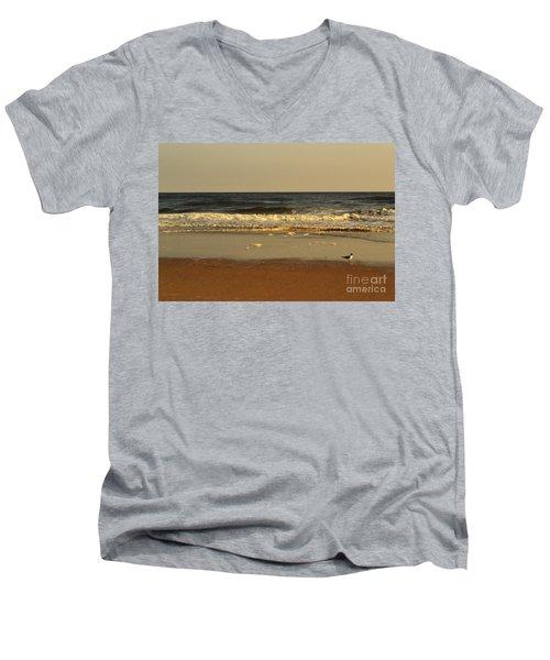 Beach Bird At Sunset  Men's V-Neck T-Shirt