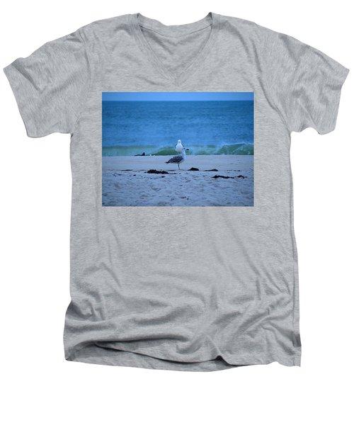 Men's V-Neck T-Shirt featuring the photograph Beach Birds by  Newwwman