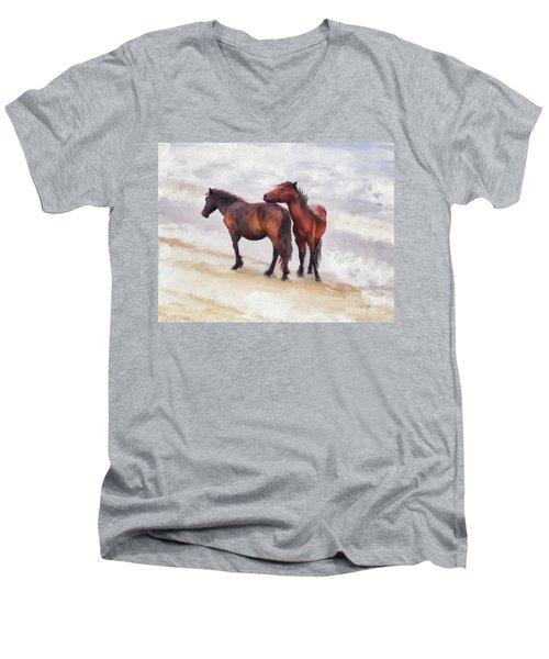 Men's V-Neck T-Shirt featuring the photograph Beach Buddies by Lois Bryan