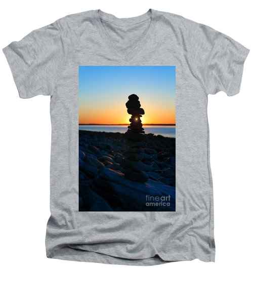 Beach Cairn At Sunrise Men's V-Neck T-Shirt by Diane Diederich