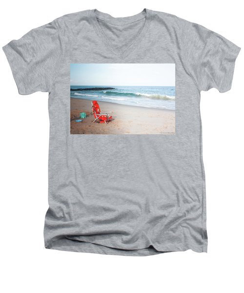 Men's V-Neck T-Shirt featuring the photograph Beach Chair By The Sea by Ann Murphy