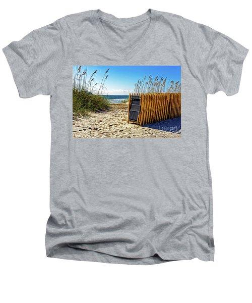 Beach Chairs Men's V-Neck T-Shirt by Paul Mashburn