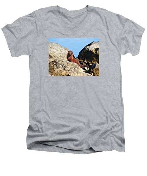 Beachcomber Men's V-Neck T-Shirt by Laura Ragland