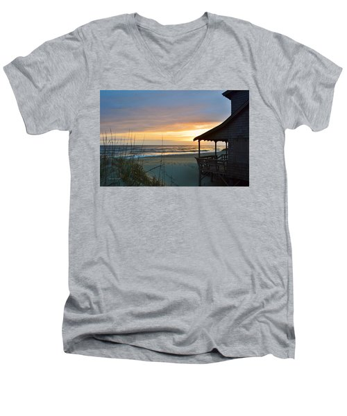 Beach Cottage Sunrise  Men's V-Neck T-Shirt