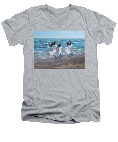 Men's V-Neck T-Shirt featuring the painting Beach Day by Karen Ilari