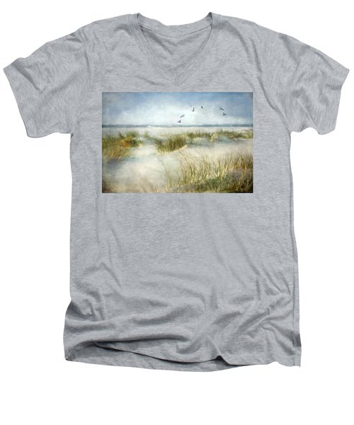 Men's V-Neck T-Shirt featuring the photograph Beach Dreams by Annie Snel
