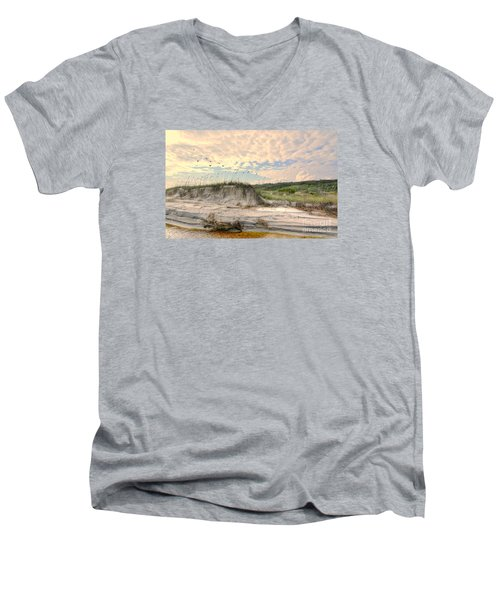 Beach Dunes And Gulls Men's V-Neck T-Shirt