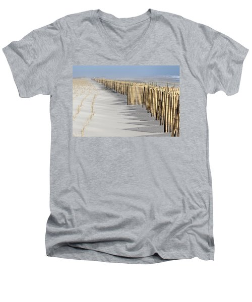 Beach Fence Shirley New York Men's V-Neck T-Shirt