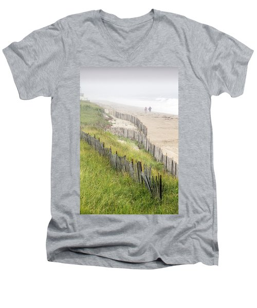 Beach Fences In A Storm Men's V-Neck T-Shirt by Betty Denise