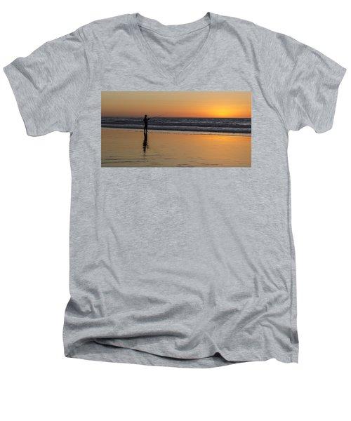 Beach Fishing At Sunset Men's V-Neck T-Shirt