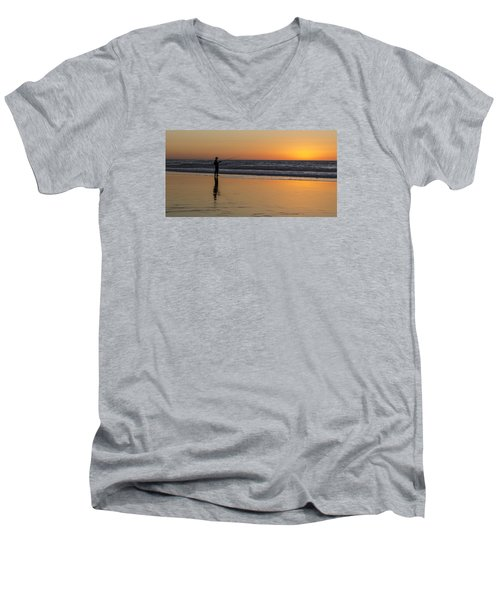 Beach Fishing At Sunset Men's V-Neck T-Shirt