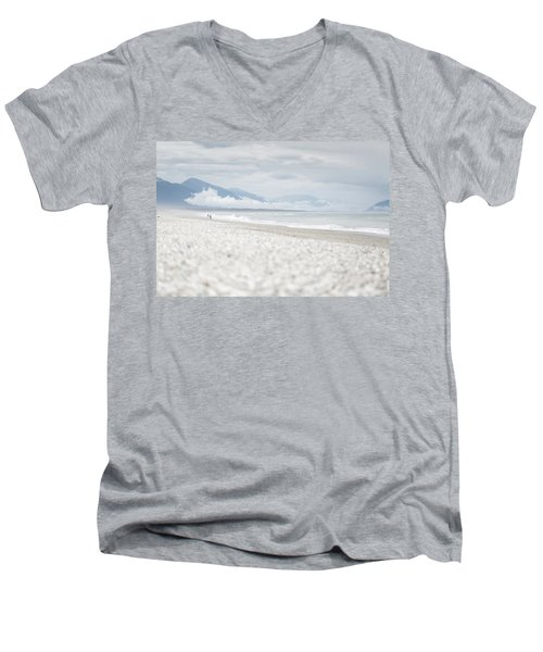 Beach For Two Men's V-Neck T-Shirt by Alex Conu
