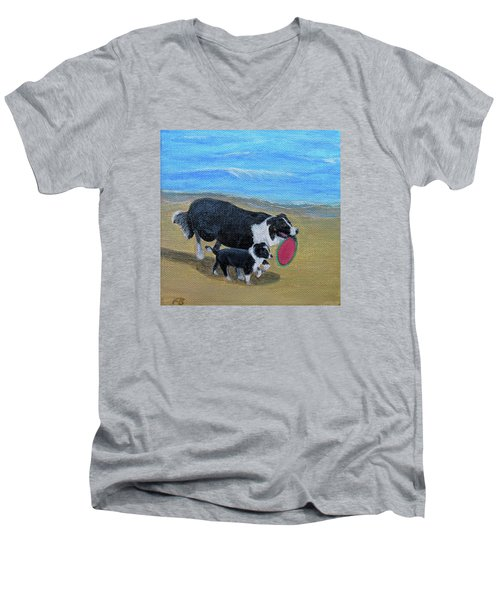 Beach Frisbee Men's V-Neck T-Shirt