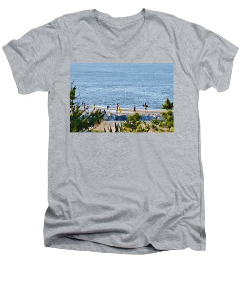 Beach Fun At Cape Henlopen Men's V-Neck T-Shirt
