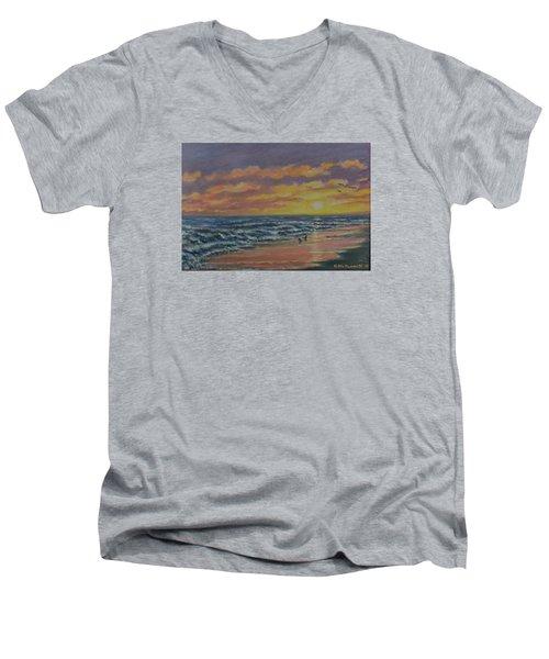 Beach Glow Men's V-Neck T-Shirt by Kathleen McDermott