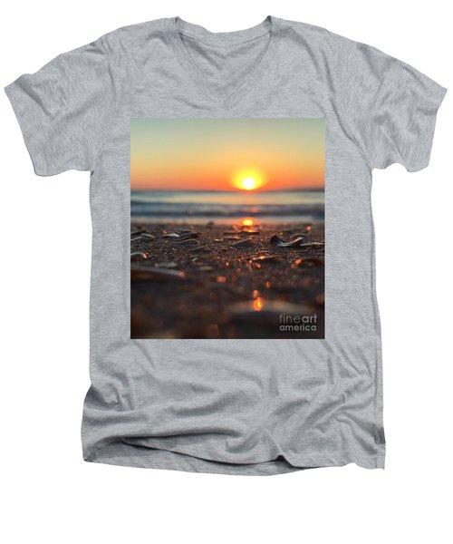 Beach Glow Men's V-Neck T-Shirt by LeeAnn Kendall