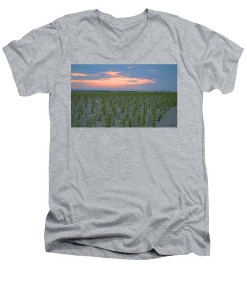 Men's V-Neck T-Shirt featuring the photograph Beach Grass Farm by  Newwwman