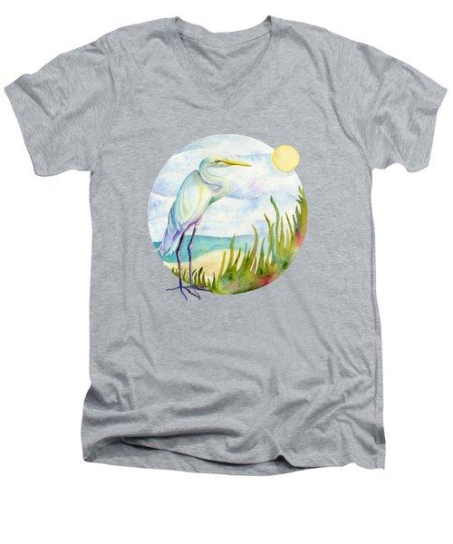 Beach Heron Men's V-Neck T-Shirt