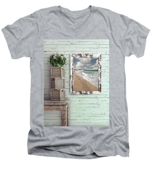 Men's V-Neck T-Shirt featuring the photograph Beach House By Kaye Menner by Kaye Menner