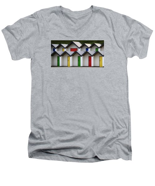 Men's V-Neck T-Shirt featuring the photograph Beach Huts by Shirley Mitchell