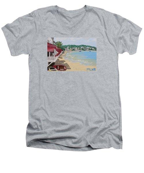 Beach In Grand Case Men's V-Neck T-Shirt by Margaret Brooks
