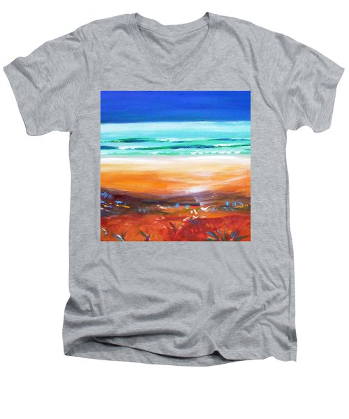 Men's V-Neck T-Shirt featuring the painting Beach Joy by Winsome Gunning