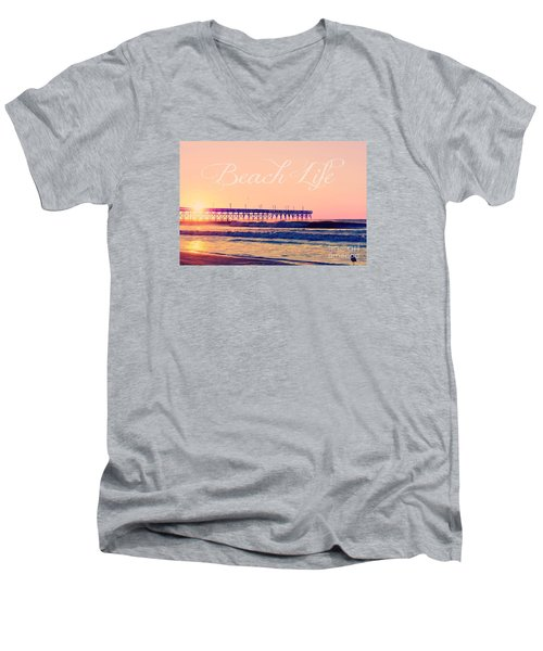 Men's V-Neck T-Shirt featuring the photograph Beach Life by Kelly Nowak