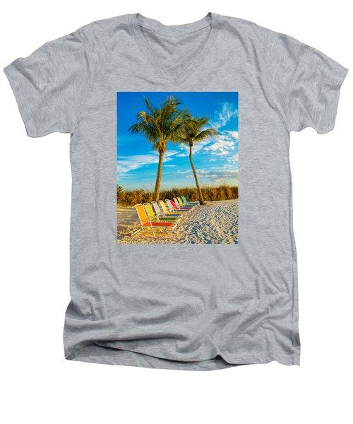Beach Lounges Under Palms Men's V-Neck T-Shirt by Robert FERD Frank