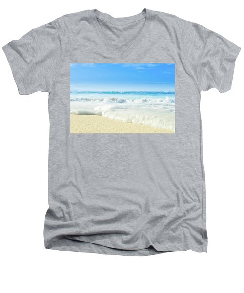 Men's V-Neck T-Shirt featuring the photograph Beach Love Summer Sanctuary by Sharon Mau