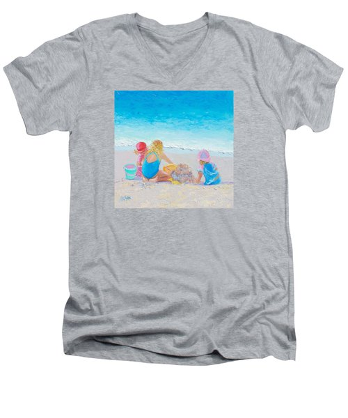 Beach Painting - Building Sandcastles Men's V-Neck T-Shirt